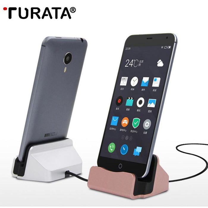 new concept 403fd 08e8f TURARA USB Cable Charging Base Dock Station For iPhone X 8 7 6 Sync Cradle  Charger Base For Android Type C Samsung Stand Holder