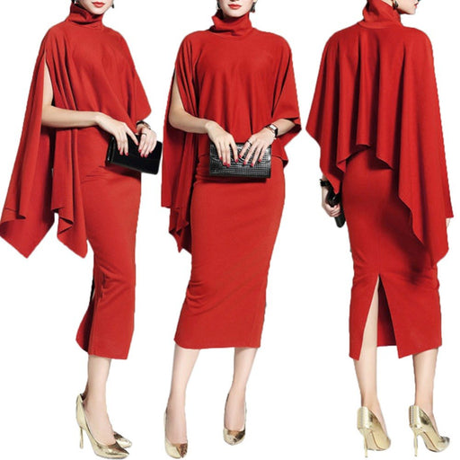 Temperamental Solid Red Women Set Elegant Turtleneck Cloak Women Clothing Sets With Skirt Formal Slim Skirt Split Office Lady