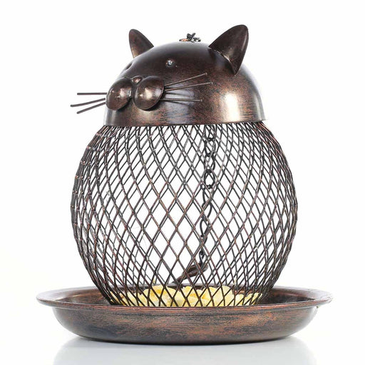Tooarts Cat Shaped Bird Feeder Cat Shaped Vintage Handmade Bird Supplies Outdoor Decoration Villa Garden Decoration
