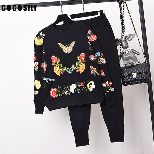 Tracksuit Women's Set Embroidery Bird Long Sleeved Knitwear Pullover + Leisure Knitted Pants Two Piece Set Women Trousers Set