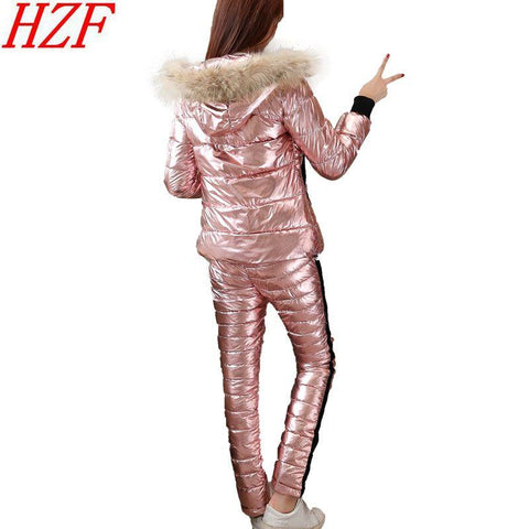 Tracksuit women 2018 winter Real fur collar hooded cotton jacket coat+pants suits female Down cotton 2 piece sets Silver Bright