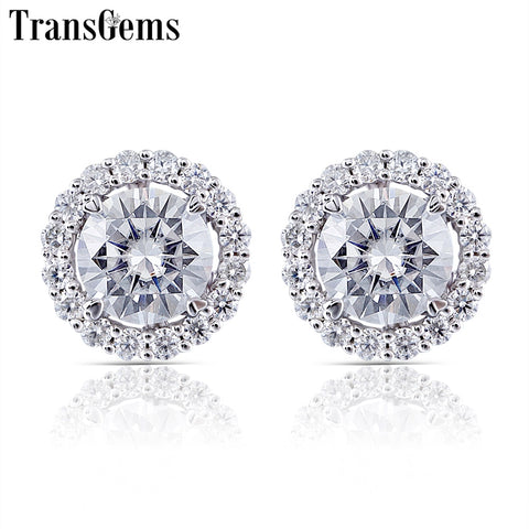 Transgems 10K White Gold Center 5.5mm F color Clear Moissanite Stud Earring with Accents Jackets Push Back for Women