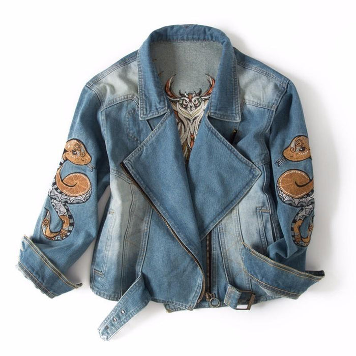 Try Everything 2017 Fashion Winter Jeans Jacket Embroidery Women