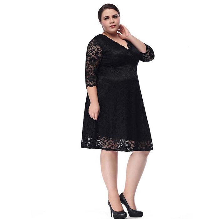 TryEverything Black Lace Dress Plus Size Ladies 4xl 5xl Deep V Neck ...