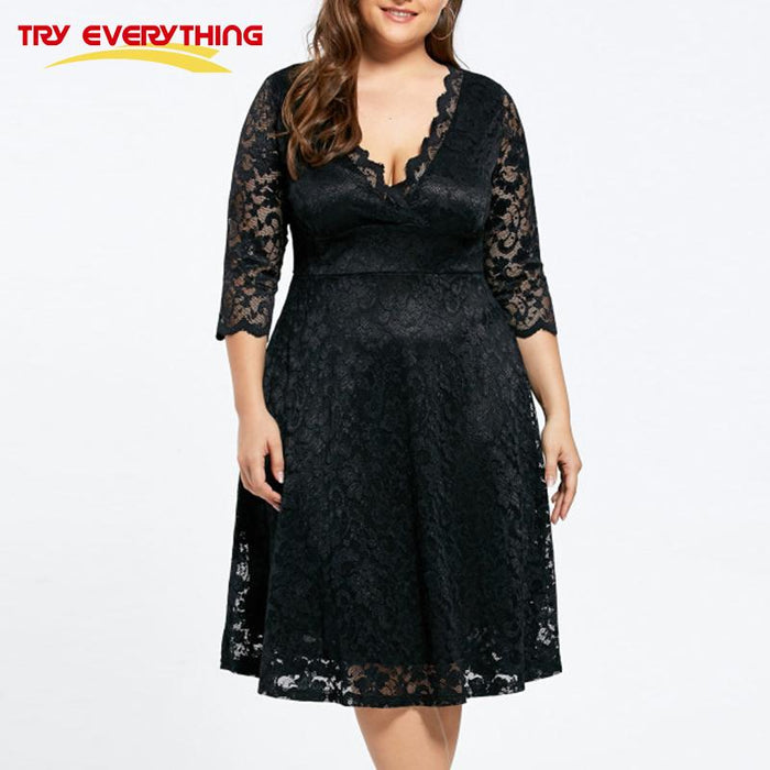 TryEverything Black Lace Dress Plus Size Ladies 4xl 5xl Deep V Neck Three  Quarter Sleeve Dress Female 2018 New Hollow Mesh Dress