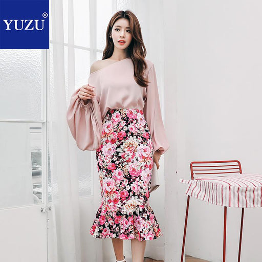 Two Piece Set Pink Matching Sets Office Lady Women Outfits 2018 Fall O Neck Lantern Long Sleeve Tops Mid-calf Floral Print Skirt