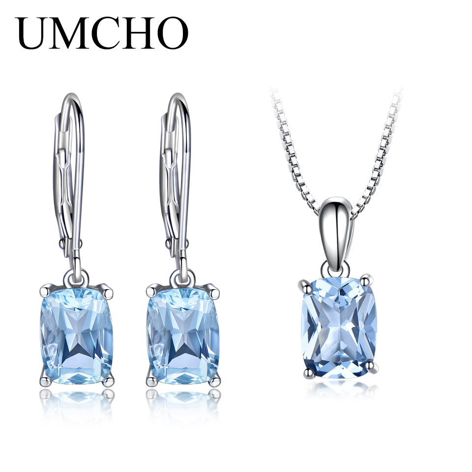 0c673cb56 UMCHO Pure 925 Sterling Silver Sets Sky Blue Topaz Jewelry Set Pendant  Necklace Drop Earrings For