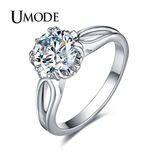 UMODE Fashion CZ Crystal Engagement Ring for Women White Gold Color Wedding Party Girl Jewelry Bague Femme Anillos Mujer AUR0405