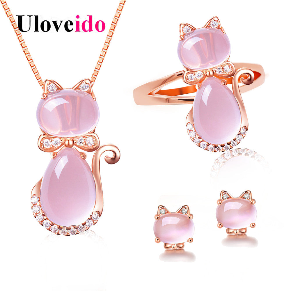 Uloveido Cute Cat Bridal Jewelry Sets Animal Pink Opal Jewelry Set Ring Earrings and Necklace Rose Gold Color Jewellery Y427