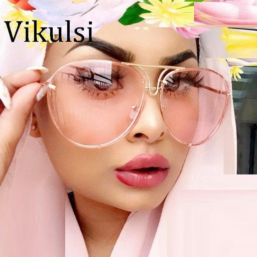 Unique Aviator Vintage Eyeglasses Transparent Glasses Women Rimless Glasses Oversized Clear Shades lunettes Sunglasses Female