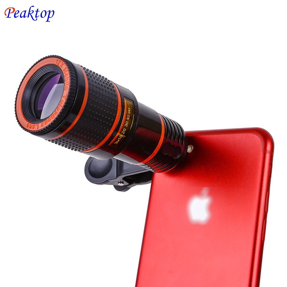Universal 8x 12xoptical Zoom Telescope Camera Lens Clip Mobile Phone Optical With Clamp Black For Iphone8 Samsung