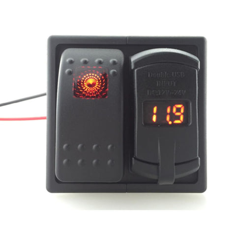 Universal Rocker switch DC12-24V 4.2A Dual USB with Car Charger car blue red led  voltmeter choose