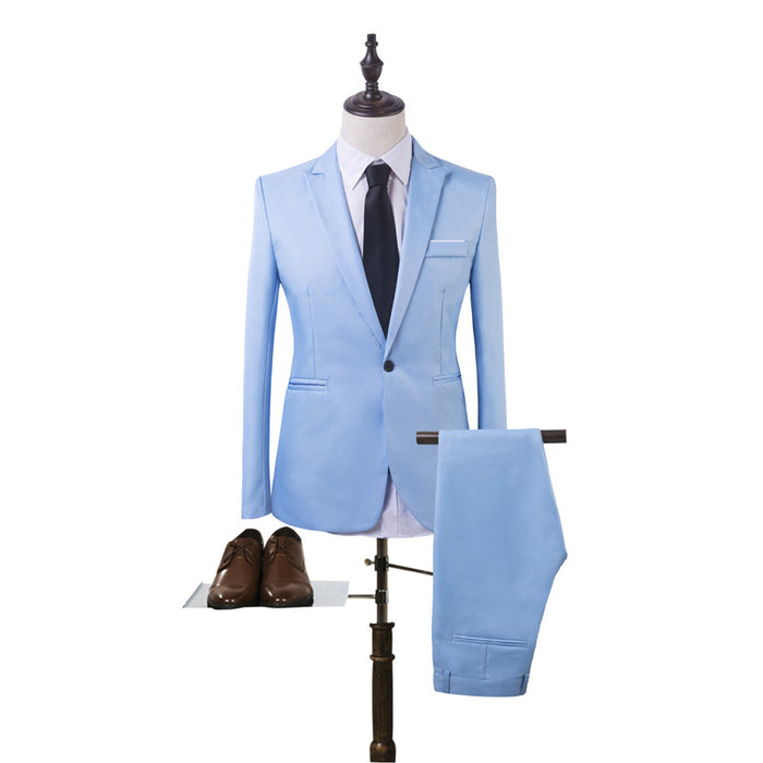Uwback Suits Men Long Sleeve 2 Pieces Wedding Suit Sets Solid ...