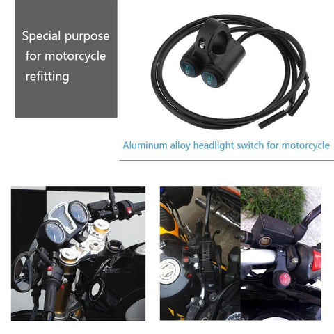 VODOOL 1pc Motorcycle Handlebar Switch 12V Dual 7/8in Aluminum Motorcycle Handlebar On/Off Switch for Headlight