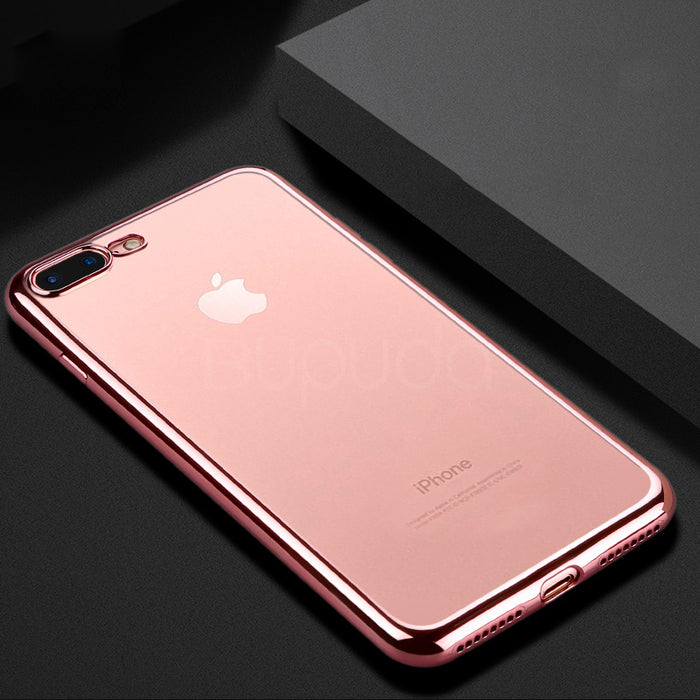 timeless design 7be2f c7f32 VOERO Luxury Clear TPU Soft Mobile Phone Case For iPhone 7 6 6s Plus Cover  Electroplating Cases for iphone 7 7 6 6s plus bag