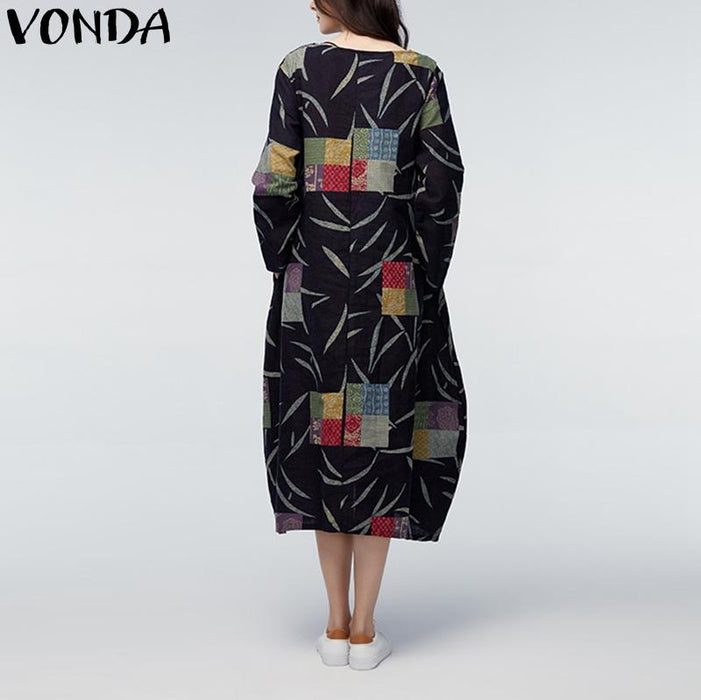 bc1e3b85471e7 VONDA Maternity Clothings 2018 Loose Maxi Long Dress Pregnant Women Plus  Size Pregnancy Vintage Print Mothers