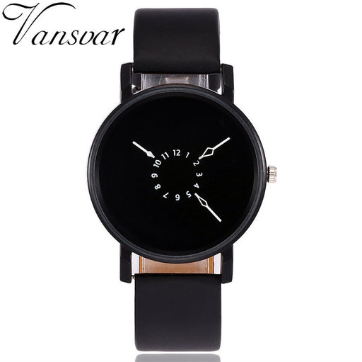 Vansvar Brand Fashion Creative Watches Women Men Quartz Watch Unique Dial Design Watch Leather Wristwatches Relogio Feminino
