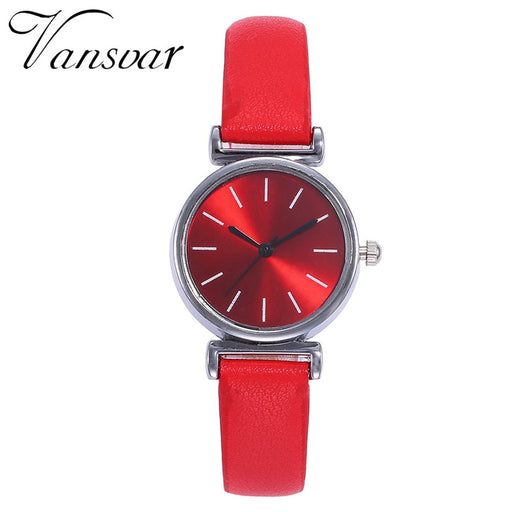 Vansvar Brand Fashion Silver Case Creative Leather Strap Wrist Watch Casual Women Quartz Watches Gift Relogio Feminino
