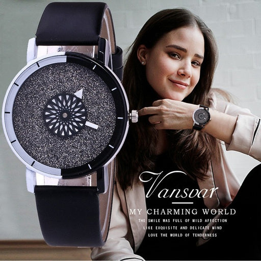 Vansvar Brand Unique Dial Design Watch Leather Wristwatches Fashion Creative Watch Women Men Quartz Watch Relogio Feminino Hot