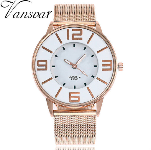Vansvar New Fashion Creative Silver Gold Mesh Band Wrist Watch Casual Women Stainless Steel Quartz Watches Relogio Feminino