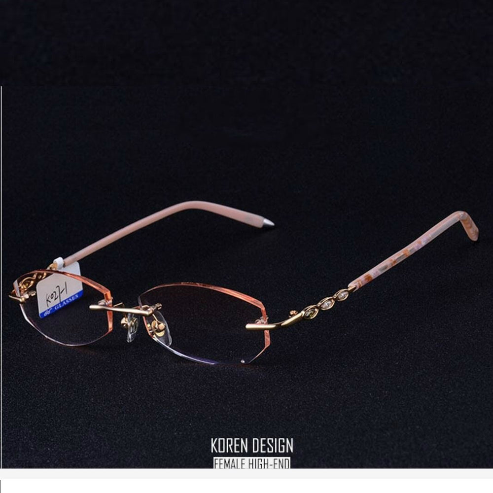 24ab17f34573 Vazrobe Trimming Rimless Glasses Frame Clear Fashion Gold Eyeglass Frame  Eyewear Best Grade Points Myopia Spectacles