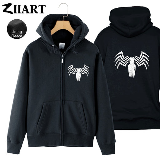 Venom-Logo Cool Black Spider Man Venom Battleworld Beyonder Couple Clothes Man Boys Full Zip Fleece Hooded Coat Jackets ZIIART