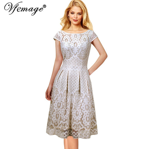 Vfemage Womens Vintage Floral Lace Pockets Cap Sleeve Pleated Cocktail Wedding Party Fit and Flare Tea Skater A-Line Dress 1623
