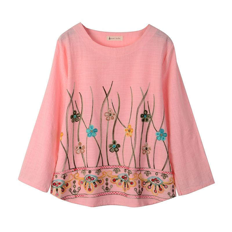 70267a7b88754 Vintage Ethnic Floral Embroidery Blouse Cotton Linen O-Neck Women s Shirt  Long Sleeve Lady Harajuku