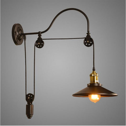 Vintage Iron RH Loft Industrial LED American Country Pulley Wall Lights Adjustable Wire Lamps Retractable Bar Lighting Sconce