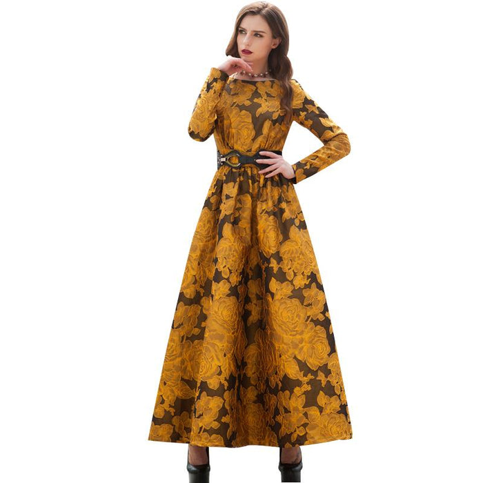 eb9d28f7a5 Vintage Printed Flowers Autumn Maxi Dress Plus Size Women Clothing Muslim  Long Sleeve Party Dresses High Quality Robe 5903