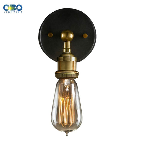 Vintage Single Simple Black Iron Indoor Bedroom Wall Lamp Bar/Club Wall Lighting E27 Lamp Holder 110-240V Free Shipping