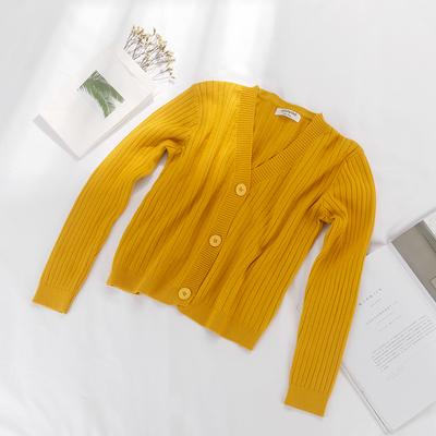 Vintage Solid Color Grey Black Yellow Plus Size Tricot Cardigan For