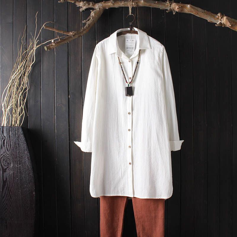 e8c885be3 Vintage Womens Linen Long Shirts Long Sleeve Solid Color Simple Loose Tops  Blusas 2018 Casual Cotton