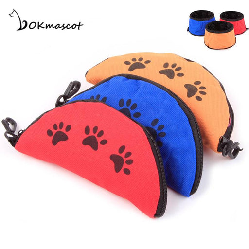 Vokmascot Pet Dog Cat Bowls Collapsible Foldable Travel  Food Water Feeder Bowl Oxford Fabric Dog Feeding cat supplies
