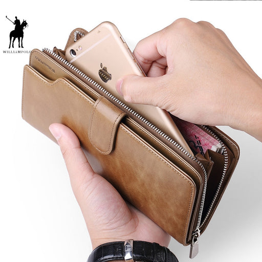 WILLIAMPOLO Card holder Leather Wallet men Long Design Quality passport cover Fashion  Men Purse Zipper Multi-function coin bag