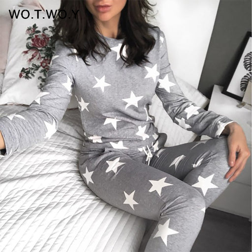 WOTWOY Stars Print Two Piece Set Women	Winter Pyjamas Sets Casual O-Neck Cotton 2 Piece Set Women 2017 Pant And Top Sleepwear