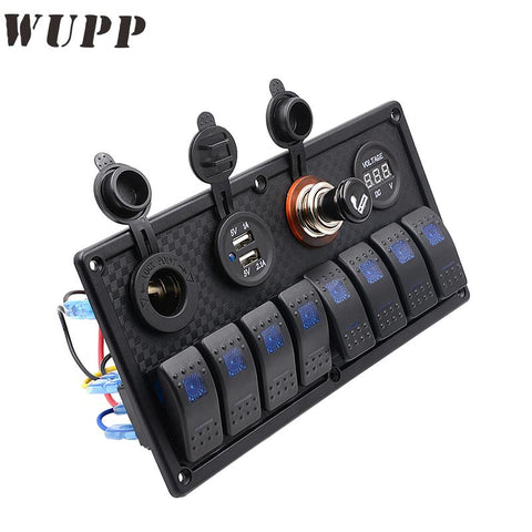 WUPP 8 Gang Switch Panel Waterproof 5V 3.1A Dual Usb Car Charger 12V Voltmeter Cigarette Socket Rocker Switch Panel With Butts