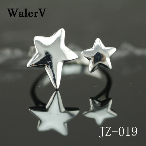 WalerV New 925 Silver Ring for Women Girl Custom Personality Stars Rings Resizable Opening Jewelry Bijoux Birthday Gift