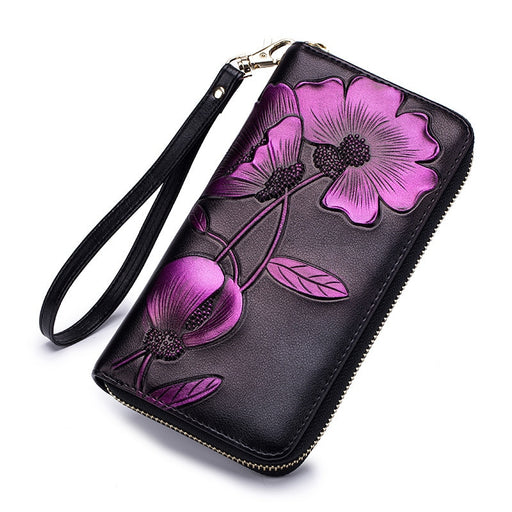 Westcreek Brand Leather Women Zipper Wrist RFID Long Wallets Lady Fashion Handwork Painted Flower Womens Wallets and Purse