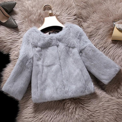Whole skin leather natural rabbit fur coats outerwear women O neck 9/10 sleeve real fur jackets plus size S - 6XL customize size 1