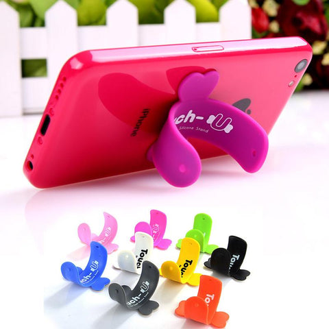 Wholesale 10 PCS/Lot Universal Touch U Stand Ring Support For  Samsung Huawei Smartphone Silicone Soft Stand Support