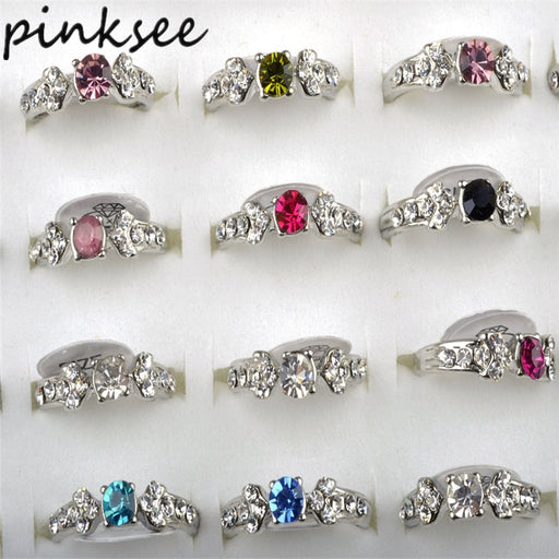 Wholesale 10PCS Mix Crystal Wedding Rings for Women Anel CZ Rings Jewelry Silver Plated Engagement Ring Aneis Bague anillos