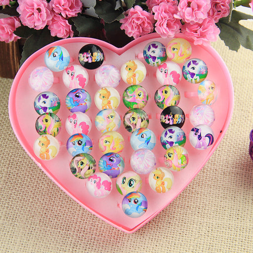 Wholesale Jewelry 36Pcs Fashion Cute emoji Adjustable Rings Kids Baby Ring Party Supplies Christmas Display Box Gift