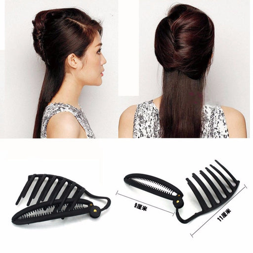 Wholesale Women DIY Formal Hair Styling Updo Bun Comb And Clip Tool Set For Hair French Twist Maker Holder Disk hair tool