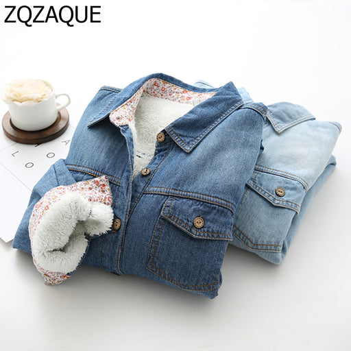 Wholesale and Retail Girls Denim Shirts Winter Warm Fleece Thicken Tops Fashion All-match Cowboy Thermal Outerwear Blouse SY1464