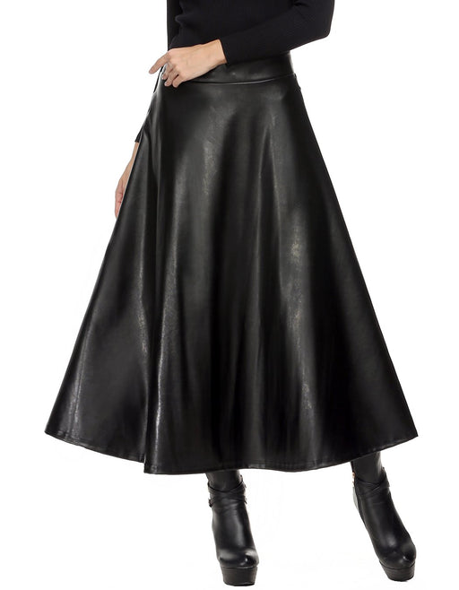Winter PU Leather Skirt Women saia faldas Maxi Long Skirts Womens High Waist Slim Autumn Vintage Pleated Skirt Black XL XXL
