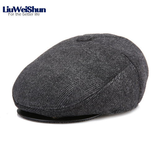 Winter Velvet Thicken Warm Newsboy Hats Men With Earflap For Male,Classic Tweed Plaid Beret Cap Flat Top Dad Peaked Hats Bonia