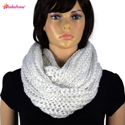 Winter Warm Scarf Necklace for Women Sequins with Yarn Infinity Knit Scarf Circle Endless Loop Crochet Circle Thick Scarf NL2054
