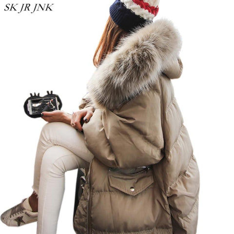 Winter Woman Hooded Down Jacket High Quality Thicken Warm Outerwear Really Big Raccoon Fur Collar White Duck Down parka LW59