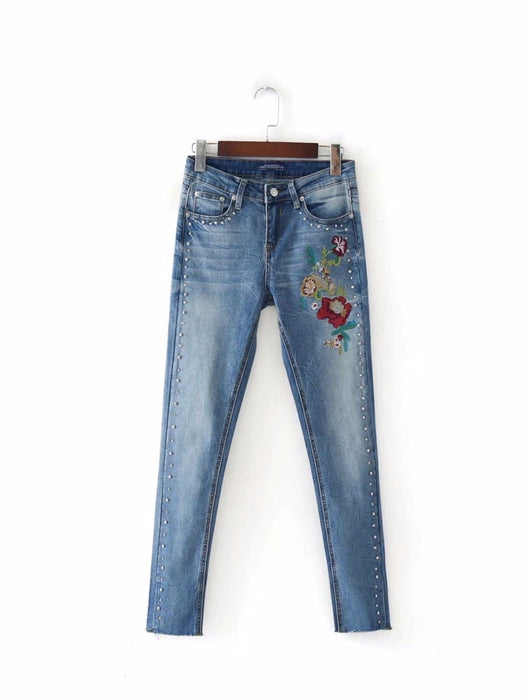 a55841a8ed Withered 2017 jeans women vintage floral embroidery Rivet trim washed high  waist skinny push up pencil
